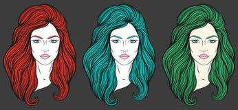 与长的头发的美丽的女孩面孔,组成和中立表示 在线传统化的手拉的妇女画象被设置 免版税库存照片