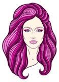 与长的头发的美丽的女孩面孔,组成和中立表示 在线传统化的手拉的妇女画象 库存照片