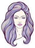 与长的头发的美丽的女孩面孔,组成和中立表示 在线传统化的手拉的妇女画象 库存图片