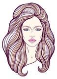 与长的头发的美丽的女孩面孔,组成和中立表示 在线传统化的手拉的妇女画象 免版税库存图片
