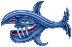 与长的牙的掠食性蓝色鱼 免版税库存照片