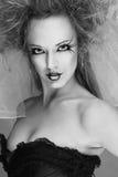 与长的睫毛的时装模特儿 库存照片
