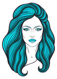 与长的头发和中立表示的美丽的女孩面孔 在线传统化的手拉的妇女画象 装饰 免版税库存图片