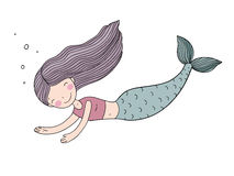 与长的头发的美丽的逗人喜爱的动画片美人鱼 警报器 抽象抽象背景海运主题 库存例证