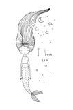 与长的头发的美丽的逗人喜爱的动画片美人鱼 警报器 抽象抽象背景海运主题 向量例证