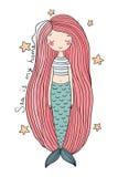 与长的头发的美丽的逗人喜爱的动画片美人鱼 警报器 抽象抽象背景海运主题 免版税库存照片