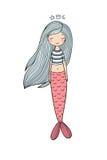 与长的头发的美丽的逗人喜爱的动画片美人鱼 警报器 抽象抽象背景海运主题 库存照片