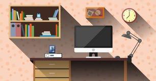 与长的阴影传染媒介的工作区在家概念 免版税库存图片