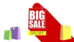 与长的阴影的大销售购物袋剪影 卖横幅,打折在一个黄色按钮背景的百分之五十 免版税库存图片