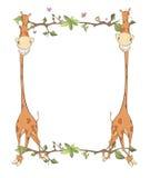 与长颈鹿动画片的儿童的框架 免版税库存图片