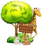 与长颈鹿和兔子的木标志 皇族释放例证