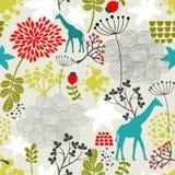 与长颈鹿和花的无缝的样式。 免版税库存图片
