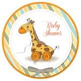 与长颈鹿玩具的婴儿送礼会看板卡 皇族释放例证