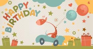 与长颈鹿的生日贺卡 免版税库存照片