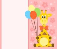 与长颈鹿的背景卡片 免版税库存图片