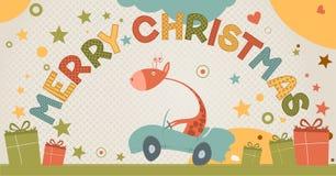 与长颈鹿的逗人喜爱的圣诞快乐看板卡 免版税库存图片