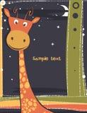 与长颈鹿的逗人喜爱的看板卡。 免版税库存照片
