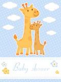 与长颈鹿的婴儿送礼会看板卡 库存照片