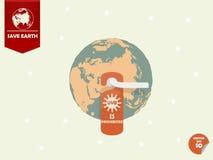 与门把手和垂悬室标记的地球与文本显示的紫外B或UVB被禁止 库存图片
