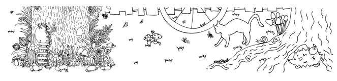 与门,蝴蝶的神仙的树桩 也corel凹道例证向量 乱画图画 冥想的锻炼 彩图反重音 免版税库存照片