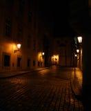 与闪亮指示的老街道 库存照片