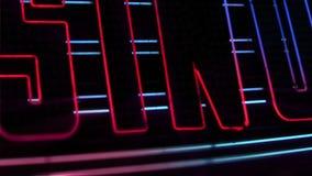 与闪光灯电灯泡的赌博娱乐场霓虹灯广告 股票视频