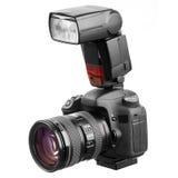 与闪光的专业照相机 免版税库存图片