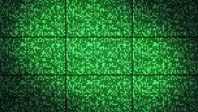 与闪光的绿色正方形墙壁,圈的背景 库存例证