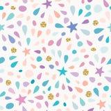 与闪烁五彩纸屑的欢乐无缝的样式,担任主角并且飞溅 对生日庆祝 向量 向量例证