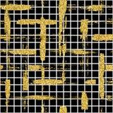 与闪烁刷子条纹和冲程的现代无缝的样式 在黑背景的金黄,白色颜色 手画 免版税库存图片