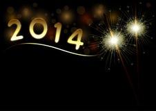 2014年与闪烁发光物的新年快乐背景 库存图片