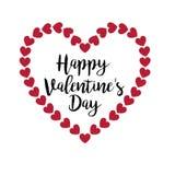 与闪烁心脏框架的愉快的情人节印刷术 库存例证