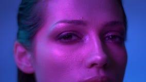 与闪烁构成的美妙的时装模特儿在观看充满蔑视的紫色霓虹灯入照相机在演播室 影视素材