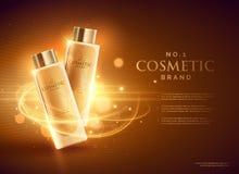 与闪烁的优质化妆品牌广告构思设计 皇族释放例证