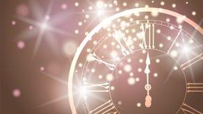 与闪烁的光和一个时钟的美丽的新年贺卡在香槟背景 向量例证