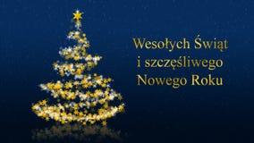 与闪烁的星在蓝色背景,波兰季节问候的圣诞树 库存照片