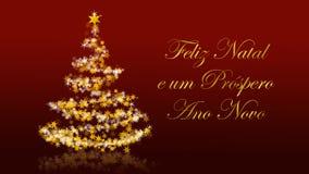 与闪烁的星的圣诞树在红色背景,葡萄牙语晒干问候 免版税库存照片