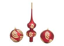 与闪烁的红色圣诞节装饰球 库存图片