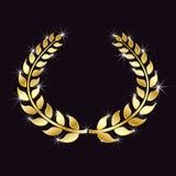 与闪烁的金黄月桂树花圈,光斑点在被隔绝的黑背景的 胜利,胜利的标志 向量要素 皇族释放例证