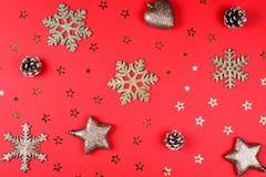 与闪烁辅助部件的圣诞节背景 库存图片