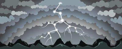 与闪电的风景 免版税库存照片