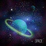 与闪耀的星的空间背景 免版税库存照片