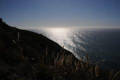 与闪耀的海洋的山草 库存图片