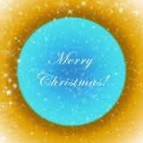 与闪耀的金黄和蓝色圣诞快乐贺卡担任主角 免版税库存照片