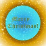 与闪耀的金黄和蓝色圣诞快乐贺卡担任主角 库存图片