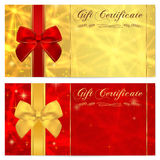 与闪耀的,闪光的星(纹理)和弓(红色丝带)的礼券,证件、优惠券、邀请或者礼品券模板 库存图片
