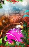 与闪闪发光和冷杉的紫色圣诞节中看不中用的物品分支 免版税库存图片