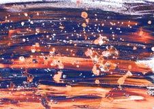 与闪闪发光和bokeh作用的欢乐五颜六色的抽象手画背景 飞溅油或丙烯酸漆 抽象例证闪电夜空 库存照片