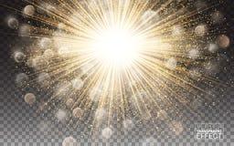与闪闪发光的光线影响明亮的火光装饰 金发光的圈子光破裂了爆炸透明亮光梯度强光 向量例证