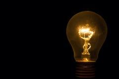 与闪闪发光的电灯泡从后面 免版税库存照片